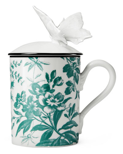 Butterfly Floral Mug with Lid