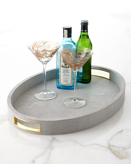 Image 1 of 1: Modern Faux-Shagreen Cocktail Tray