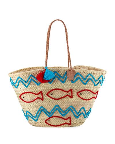 Palm Leaf Fish & Wave Tote Bag