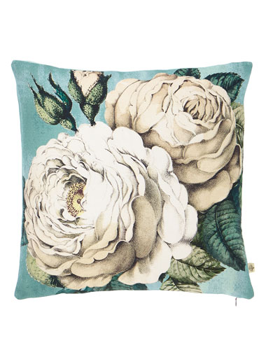 Rose Swedish Blue Decorative Pillow