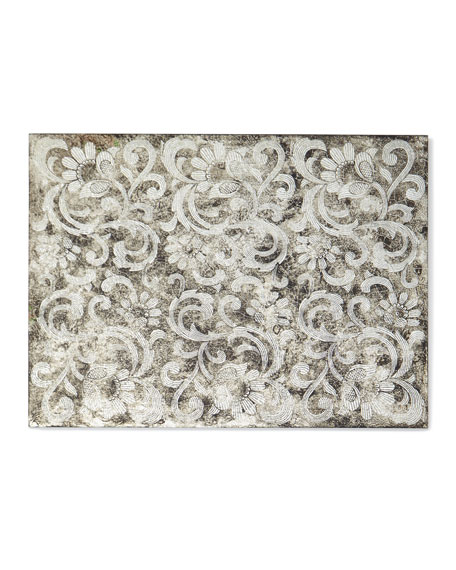Silver and Black Glass Lace Mirror Placemat