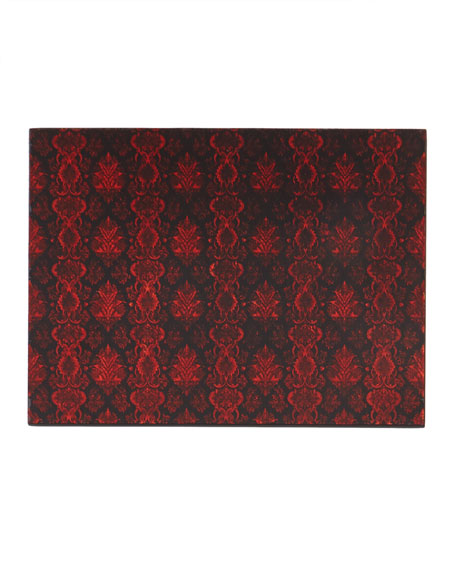 Lace Glass Painted Mirror Placemat, Red/Black