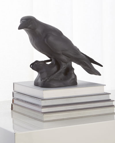 Black Matte Raven Sculpture
