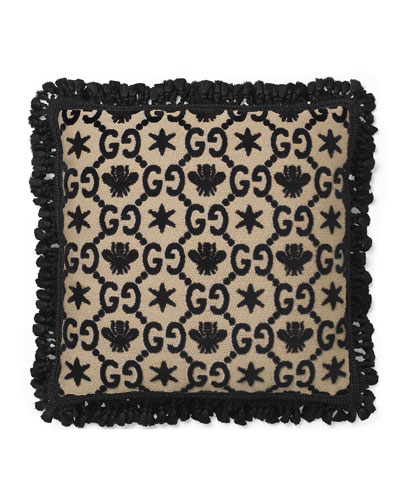 GG Floral Cushion Pillow  Black/Beige