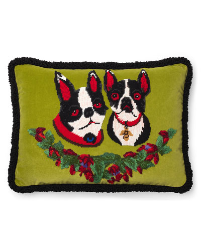 Bosco & Orso Needlepoint Cushion Pillow