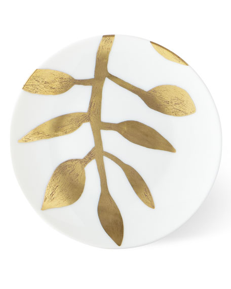 Daphne White Gold-Leaf Bread Butter Plate