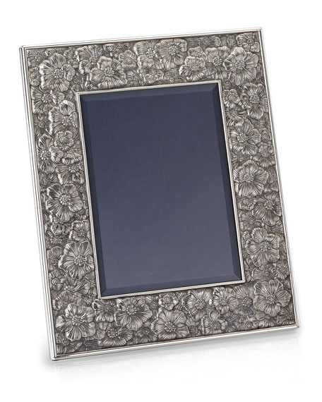 """Gardenia Silver & Leather Picture Frame, 4"""" x 6"""""""