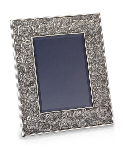 Gardenia Silver & Leather Picture Frame  5 x 7