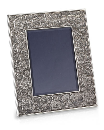 Gardenia Silver & Leather Picture Frame  8 x 10