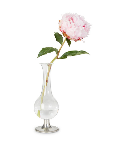 Pewter Footed Glass Vase