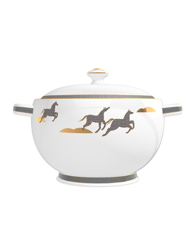 Cedar from French Leather Candle in Soup Tureen  67 oz./ 1900 g