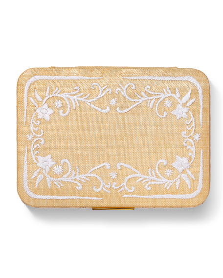 Beauvais Embroidered Raffia Jewelry Box