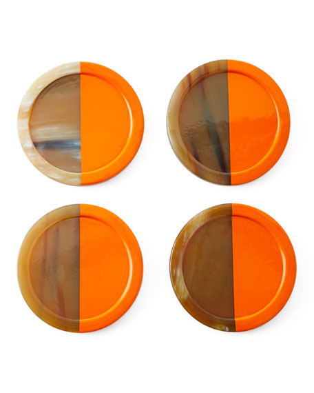 Horn Lacquered Coasters, Set of 4