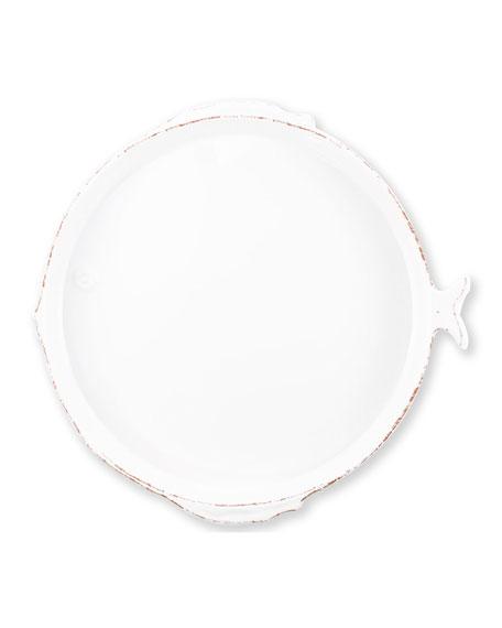 Melamine Lastra Fish Round Platter, White