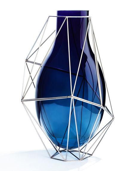 Framework Tall Blue Vase