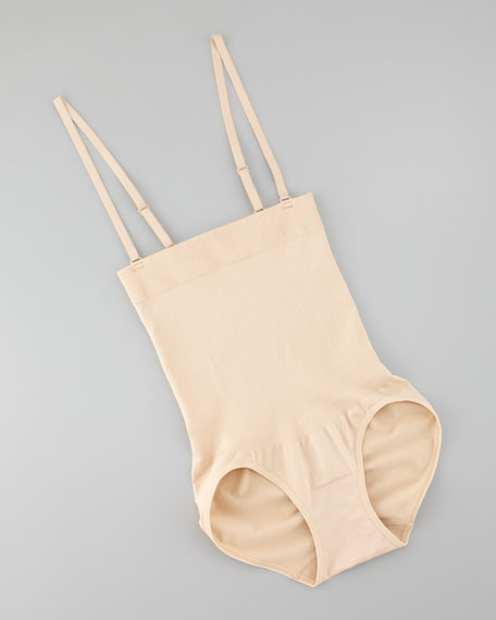 Cool Definition High-Waist Briefs with Shoulder Straps, Nude