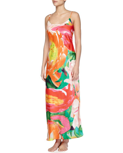 Garbo Printed Long Nightgown, Multicolor