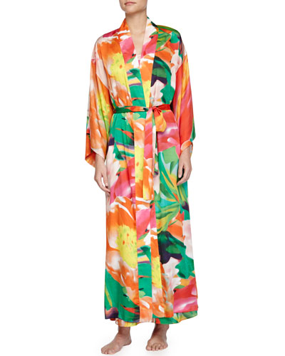 Garbo Printed Long Robe, Multicolor