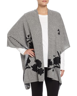 Cashmere Floral-Embroidered Shawl
