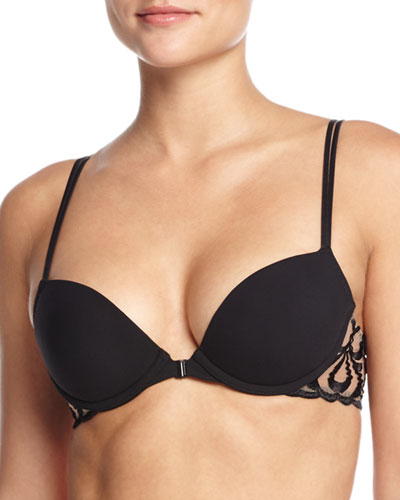 Look Embroidered Push-up Bra, Black