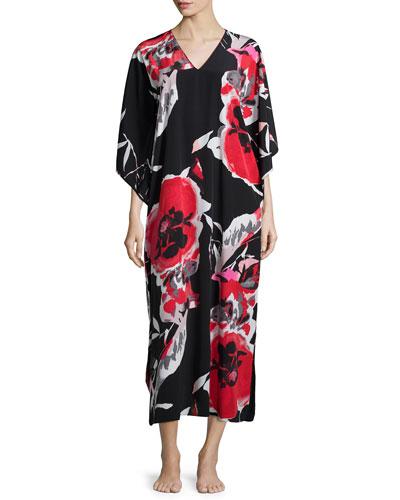 Lana Drop-Sleeve Lounge Caftan, Black/Multicolor