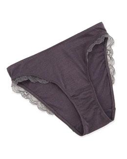 Fina Lace-Trimmed Cotton/Silk Bikini Brief, Shark