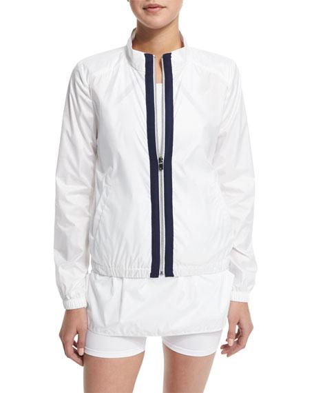 Training Jacket W/Contrast Stripe, White/Navy