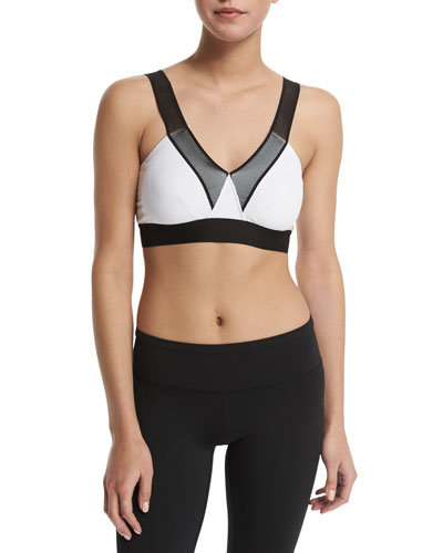 V-Neck Mesh-Shoulder Bra, Black/White