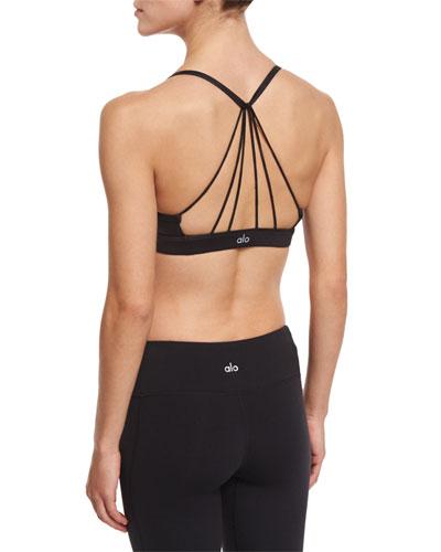 Sunny Strappy Sports Bra, Glossy Black