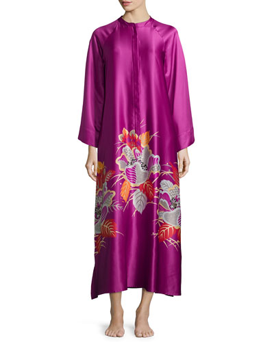 Imperial Floral-Embroidery Zip Lounge Caftan, Purple Haze