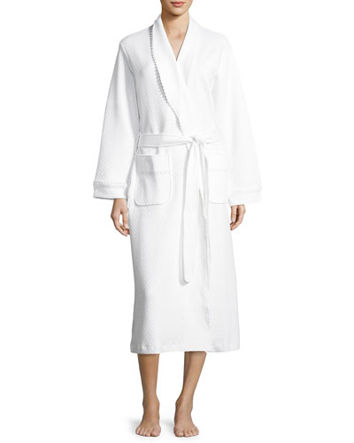 Quilted Basket-Weave Robe  White