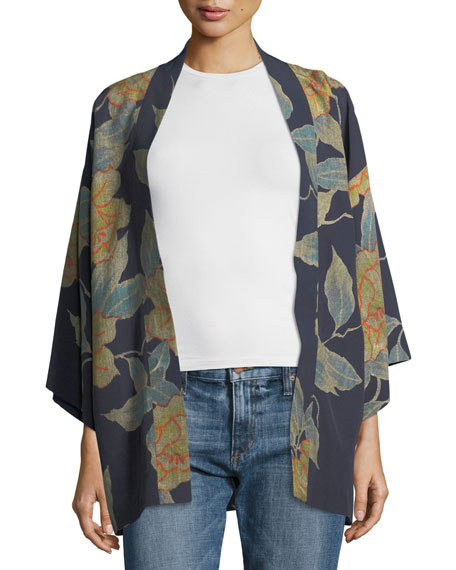 Drew Floral-Print Open-Front Short Kimono