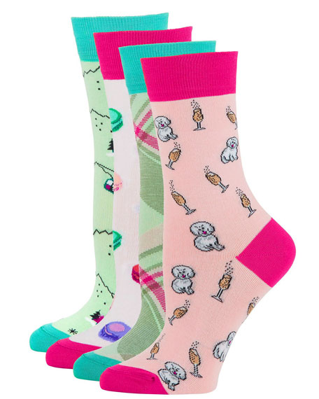 Neiman Marcus 4-Pack Novelty Motif Sock Set