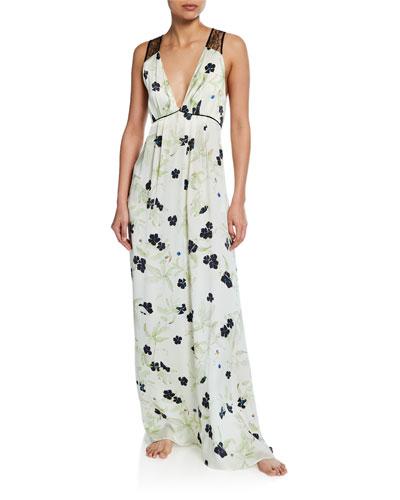 Floral-Print V-Neck Lace-Back Silk Satin Gown