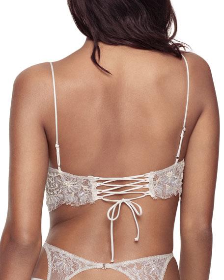 Embellished Lace Longline  Lace-Up Bra