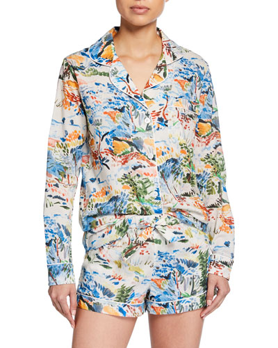 Watercolor Landscape Shorty Pajama Set