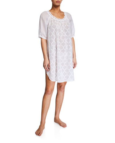 Elaine Lattice-Pattern Babydoll Nightgown