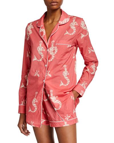 Sirena Long-Sleeve Shortie Pajama Set