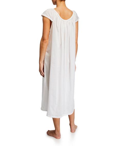 Long Lawn Cap-Sleeve Nightgown