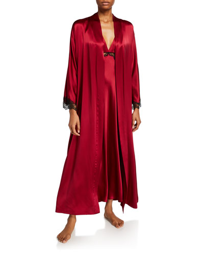 Bijou Lace-Trim Long Robe