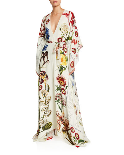 Floral V-Neck Long-Sleeve Self-Belt Silk Caftan
