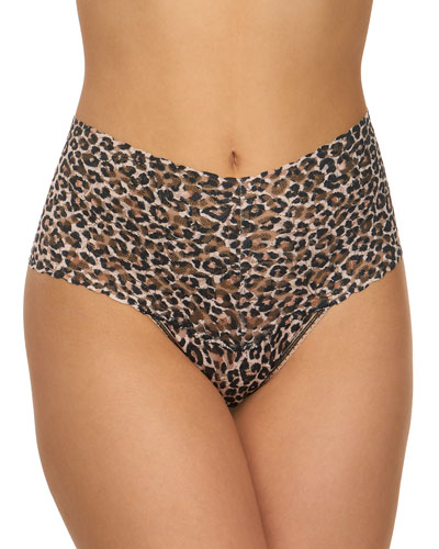 Leopard-Pattern Lace Retro Thong