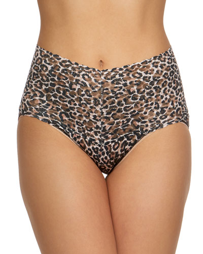 Retro Leopard-Print Lace Briefs