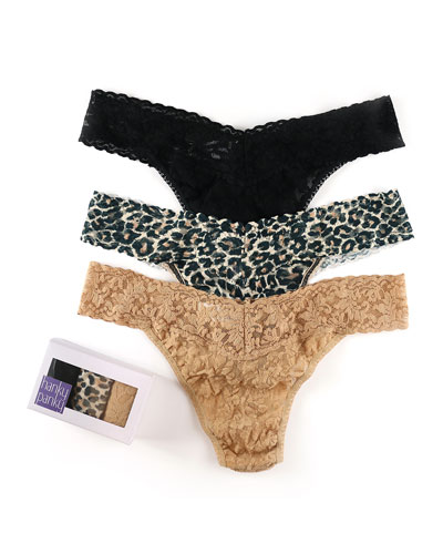 Three-Pack Lace Original-Rise Thongs