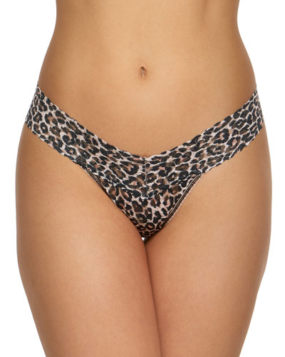 Leopard-Print Lace Low-Rise Thong