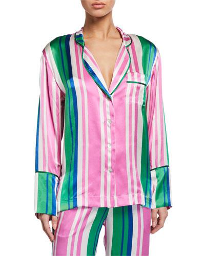 Evie Striped Silk Pajama Shirt