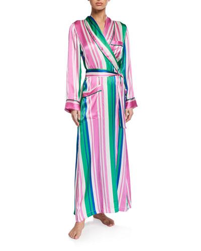 Ainsley Classic Long Striped Silk Robe