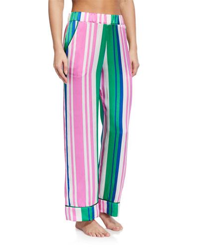 Evie Striped Silk Pajama Pants