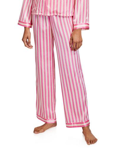 Chantal Striped Silk Pajama Pants