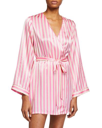 Langley Striped Silk Robe